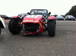 Caterham 7 after a bump at Donington Park