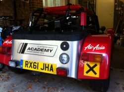 Caterham 7 Academy race car with novice cross