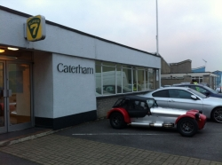 Caterham 7 outside Caterham's Dartford factory